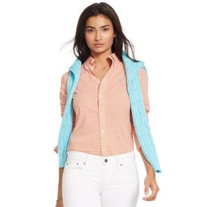 Ralph Lauren Sport Hot Pink Gingham Oxford Top